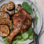 Roasted duck with Chinese five spice powder on a plate