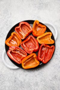 Roasting peppers in a pan