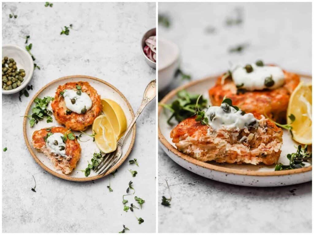Salmon cakes with Greek yogurt sauce