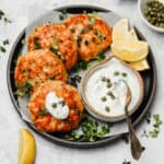 Salmon patties with yogurt sauce