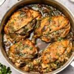 Stuffed chicken marsala in a pan