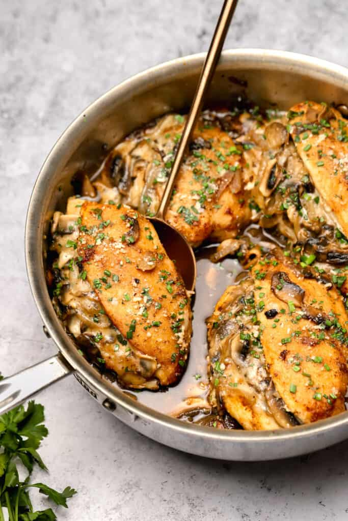 Stuffed chicken marsala with parmesan and parsley