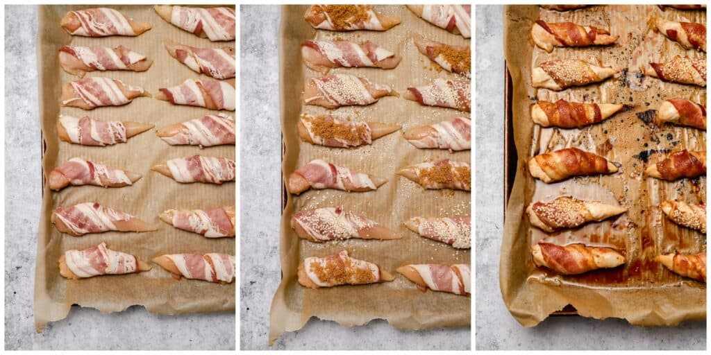 Bacon wrapped chicken with brown sugar or sesame seeds on a sheet tray