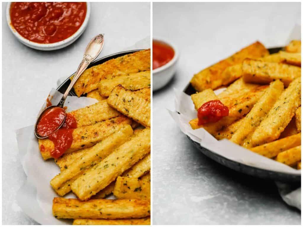 Baked polenta fries with marinara