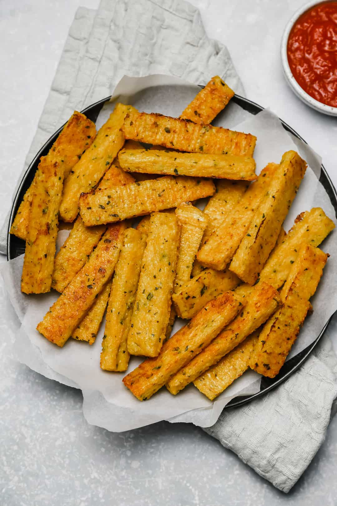 Baked polenta fries with marinara sauce