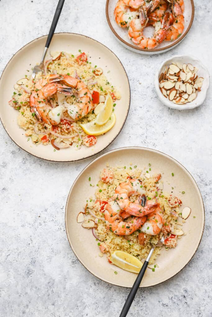 Couscous salad with tarragon and shrimp