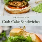 Crab cake sandwich pinterest graphic
