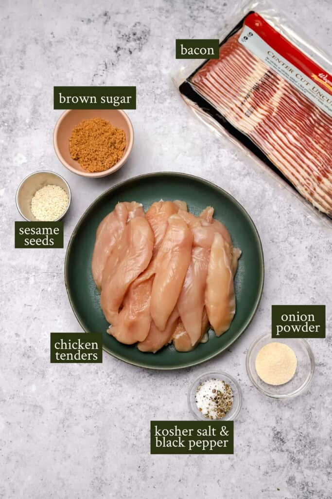 Ingredients for bacon wrapped chicken tenders