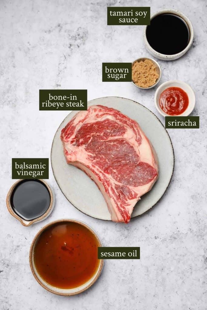Ingredients for cast iron ribeye