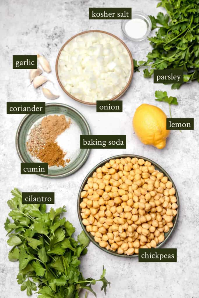 Ingredients for chickpea patties