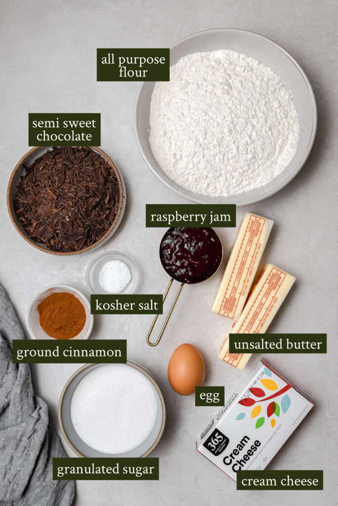 Ingredients for chocolate raspberry rugelach