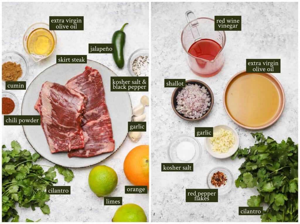 Ingredients for citrus marinated skirt steak with chimichurri sauce