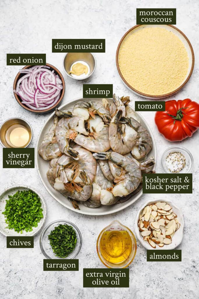 Ingredients for couscous salad with shrimp