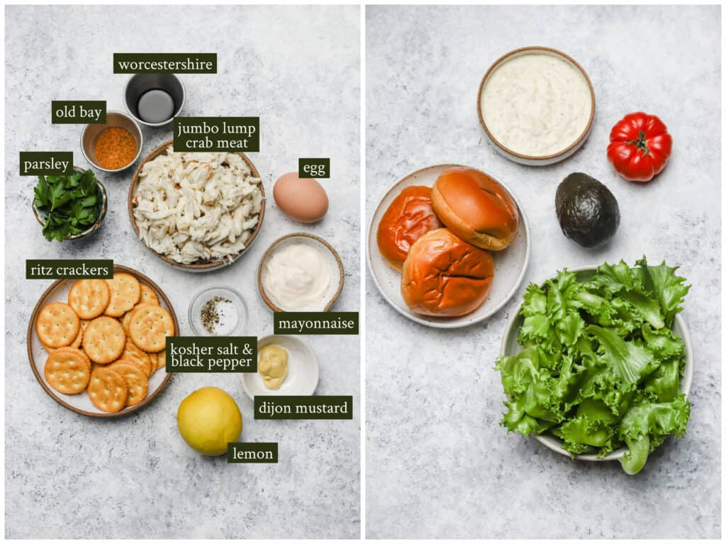 Ingredients for crab cake sandwiches