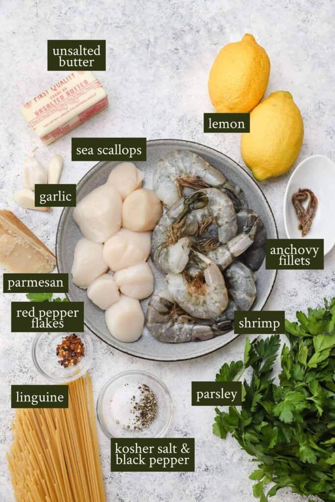 Ingredients for lemon garlic pasta