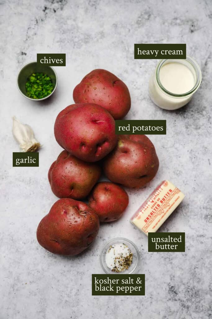 Ingredients for red skin mashed potatoes