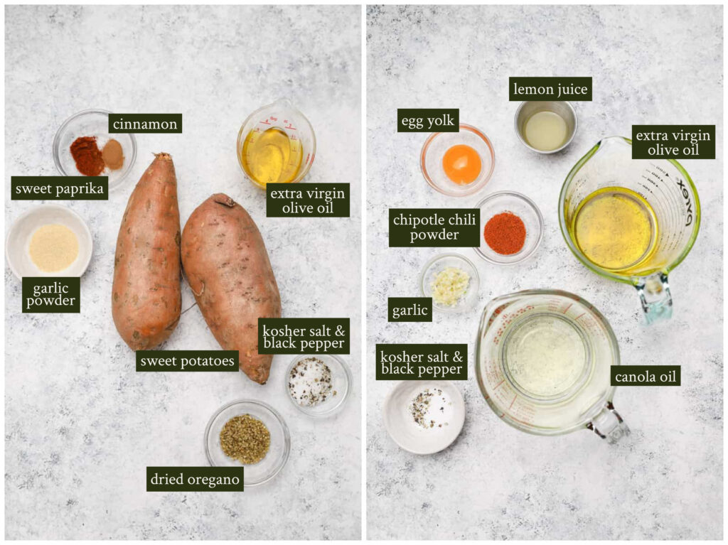 Ingredients for sweet potato fries and chipotle aioli