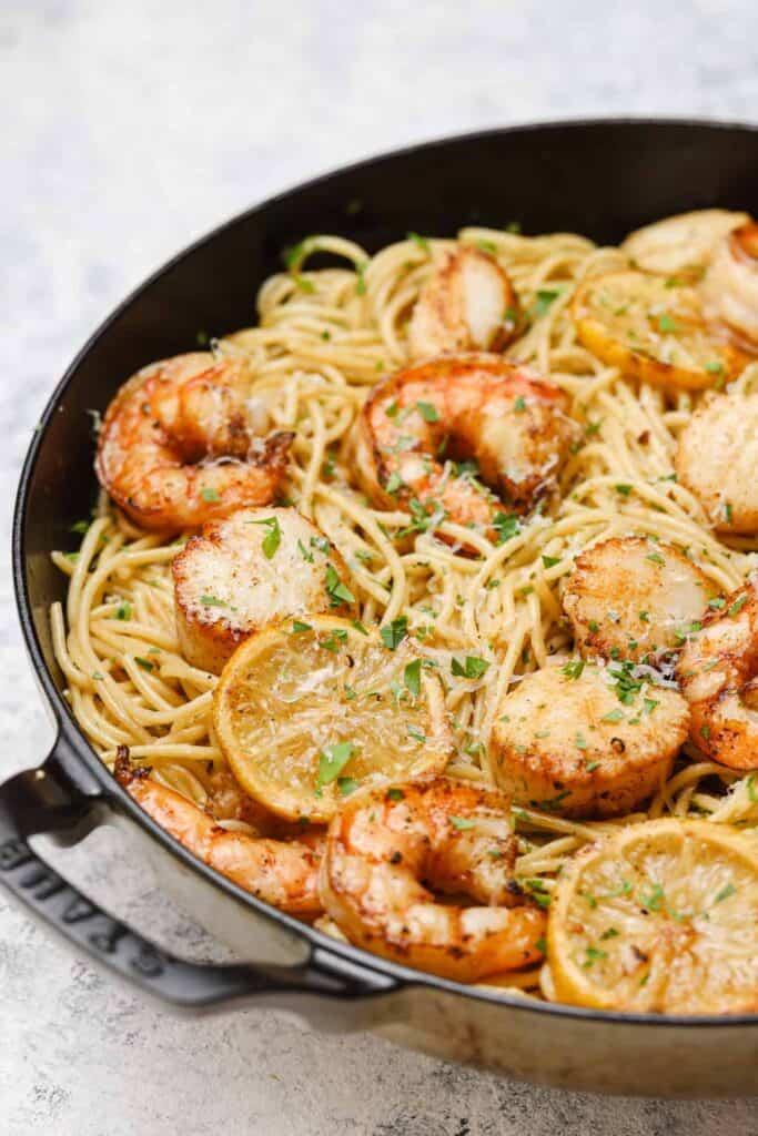 Lemon garlic pasta in a skillet