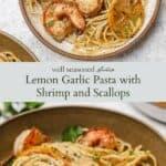 Lemon garlic pasta pinterest graphic