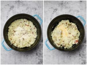 Mixing mashed potatoes with cream and butter in a pot