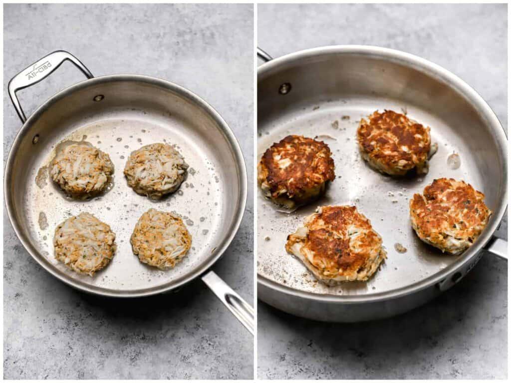 Pan frying crab patties