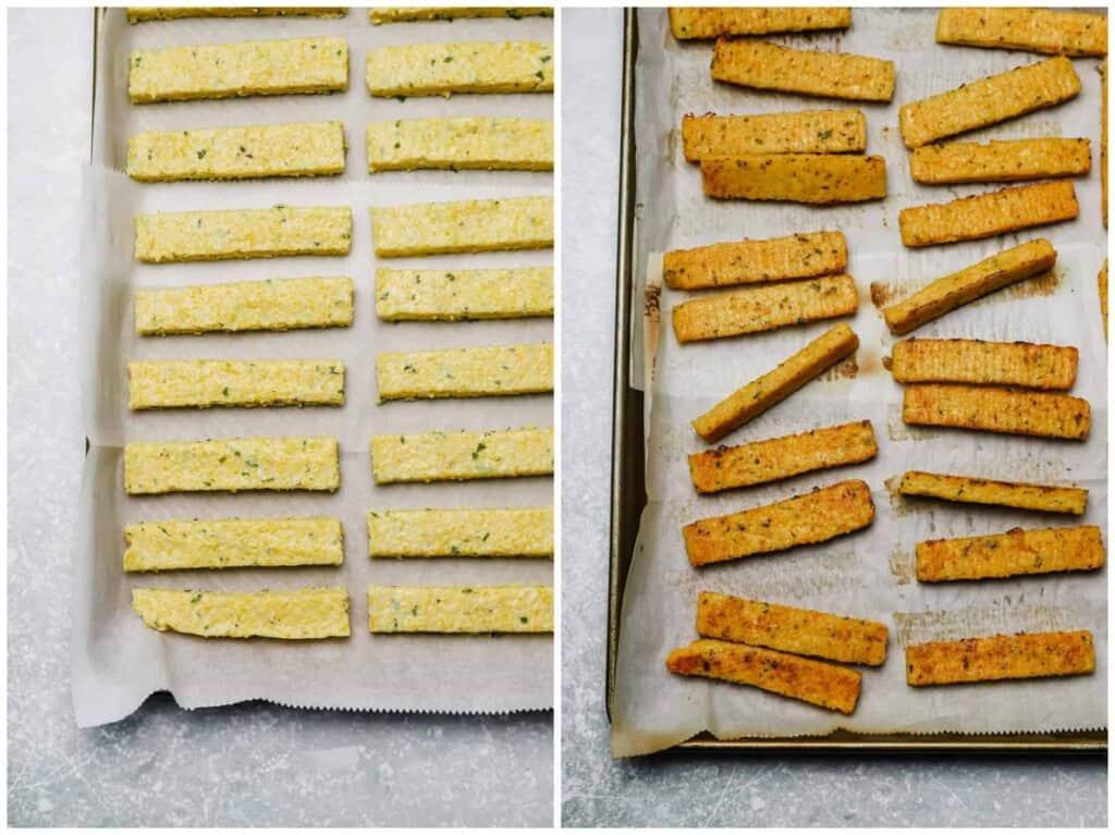 Polenta fries on a baking sheet