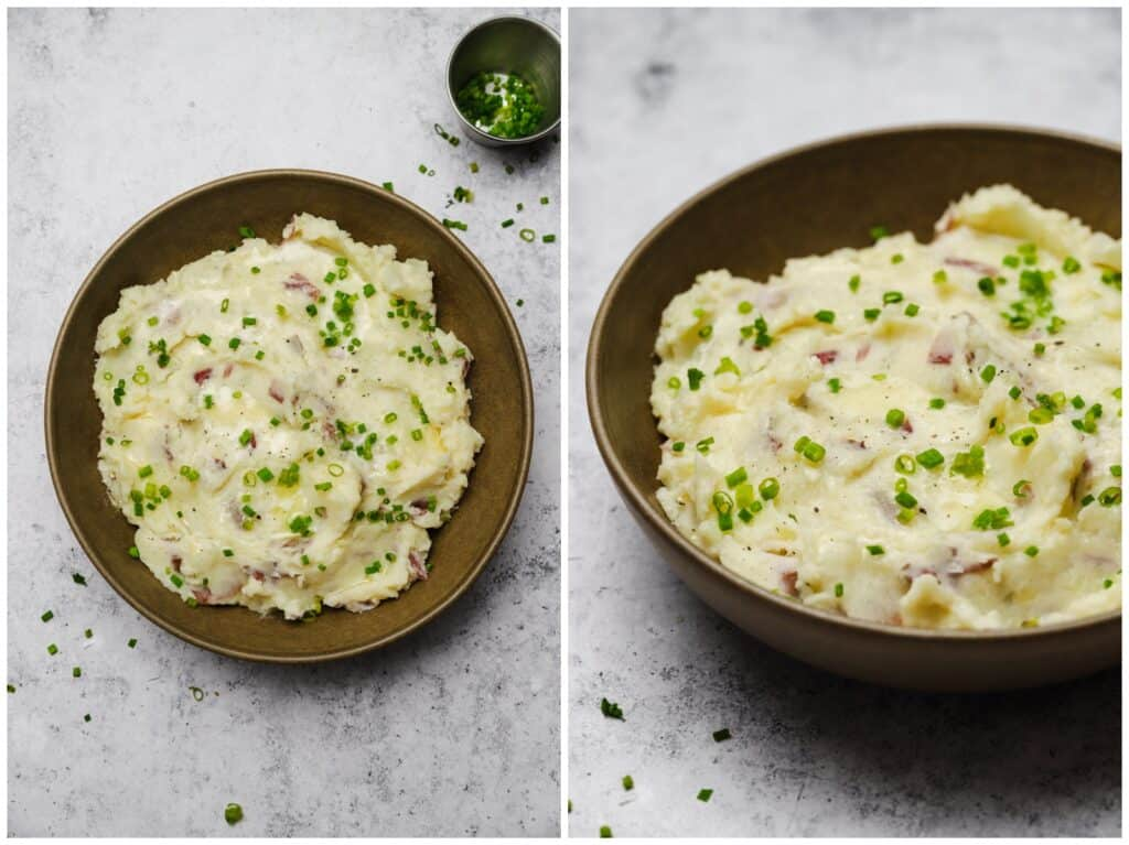 Red skin mashed potatoes with chives in a bowl