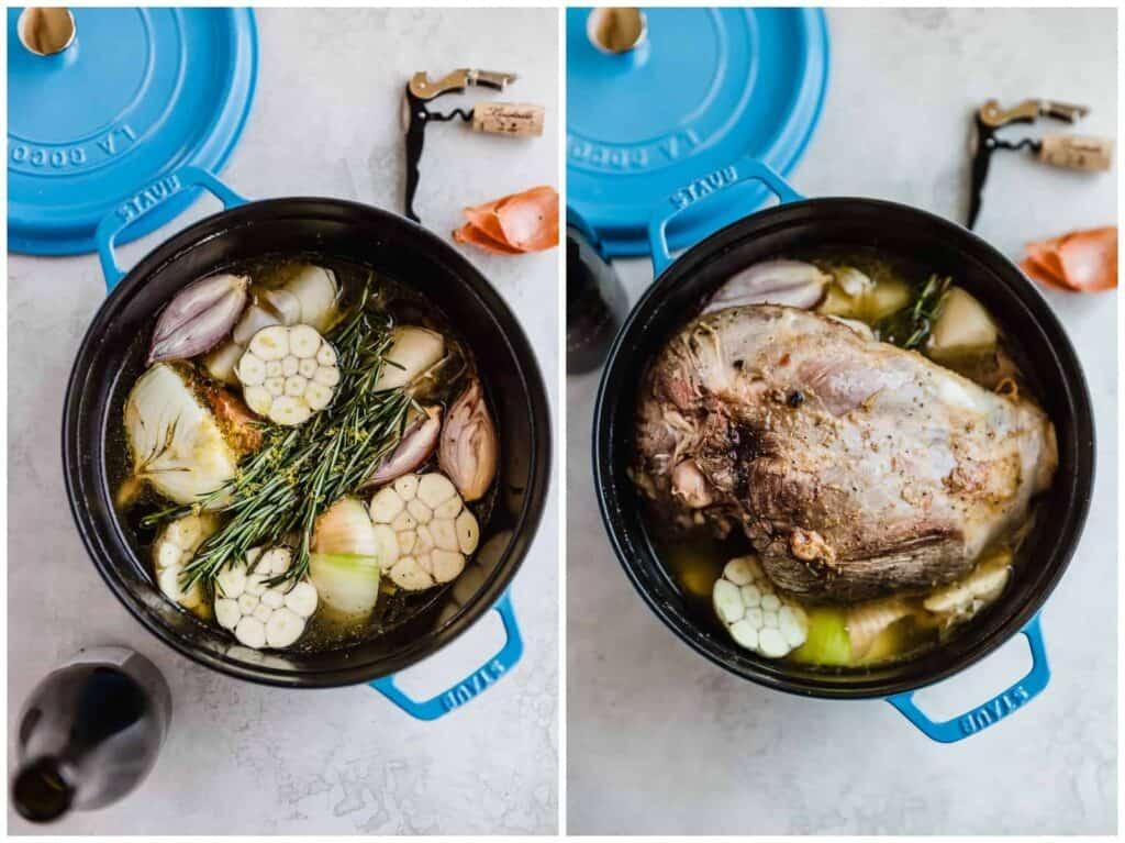 Roasting leg of lamb in a dutch oven
