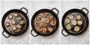 Searing scallops and shrimp in a pan
