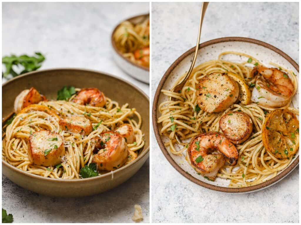 Shrimp and scallop pasta with lemon sauce