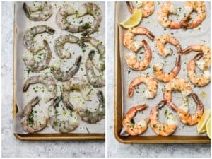 Tarragon roasted shrimp on a baking sheet