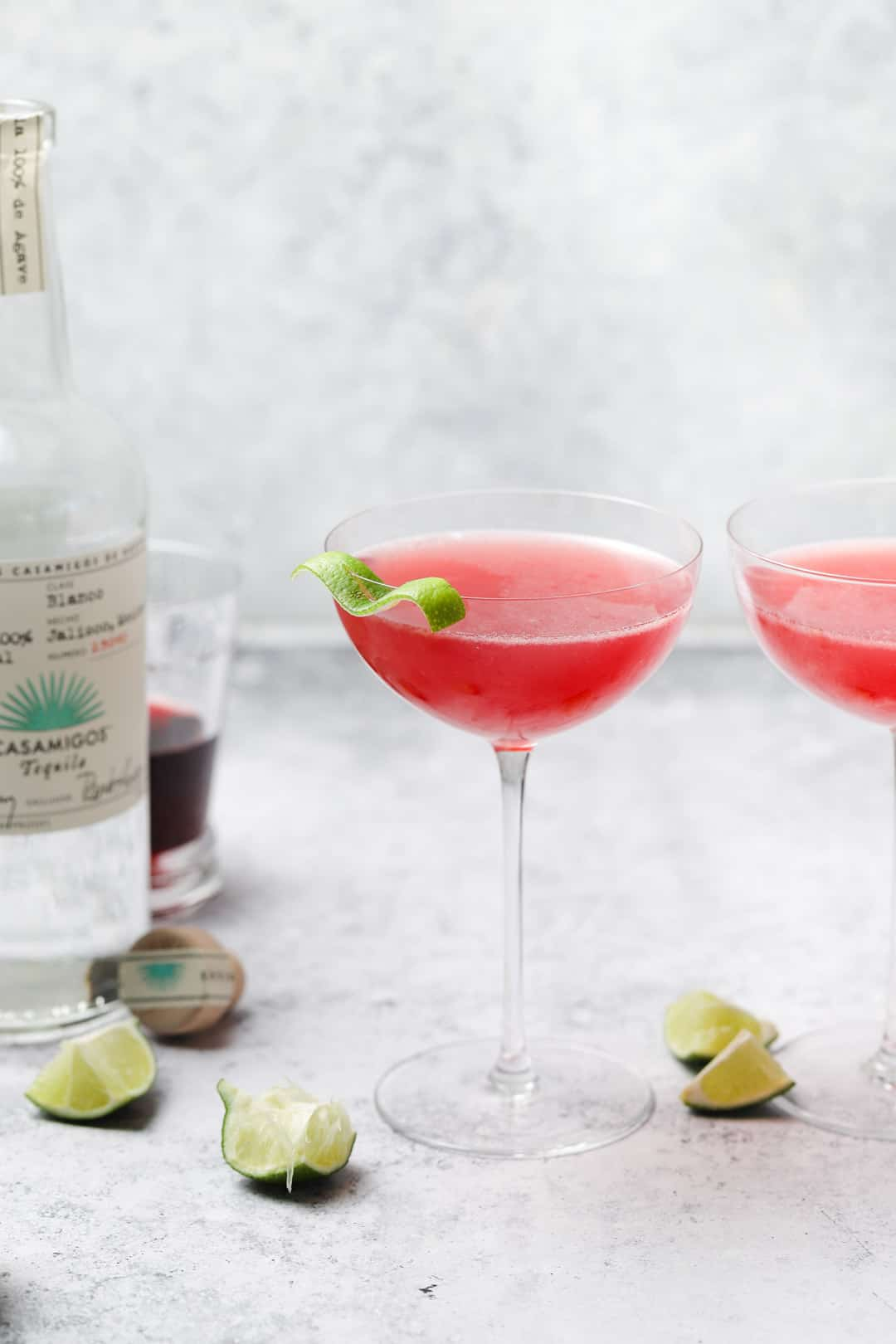 Two pomegranate tequila cocktails