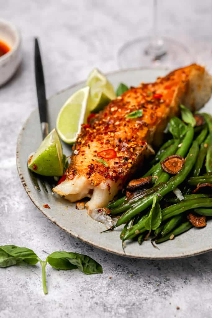 Alaskan halibut with string beans and limes