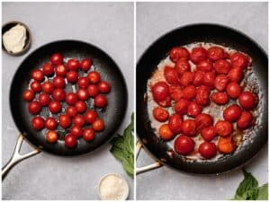 Blistering cherry tomatoes in a skillet