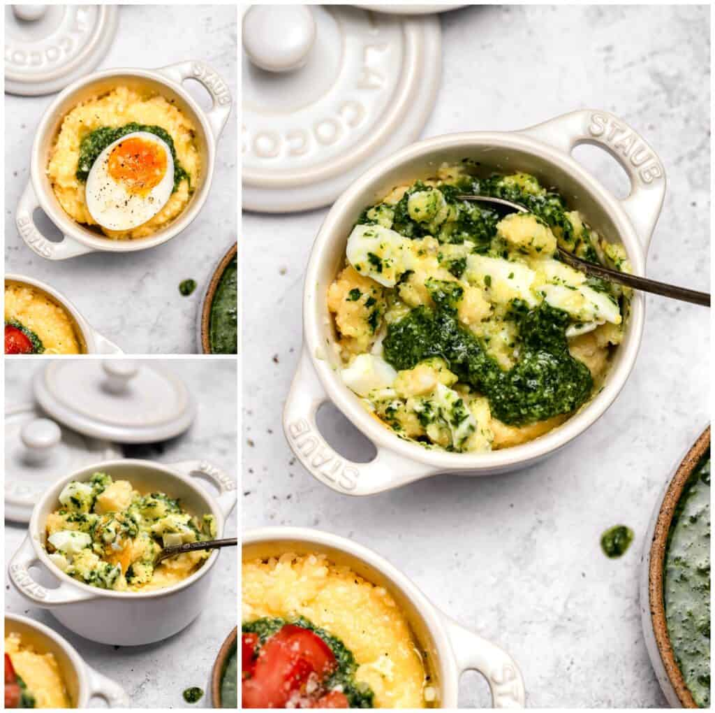 Breakfast polenta with pesto and soft boiled eggs