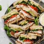California club sandwiches with aioli