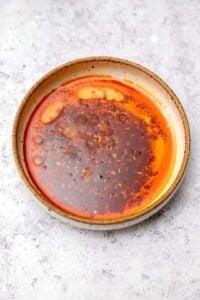 Chili garlic oil in a bowl