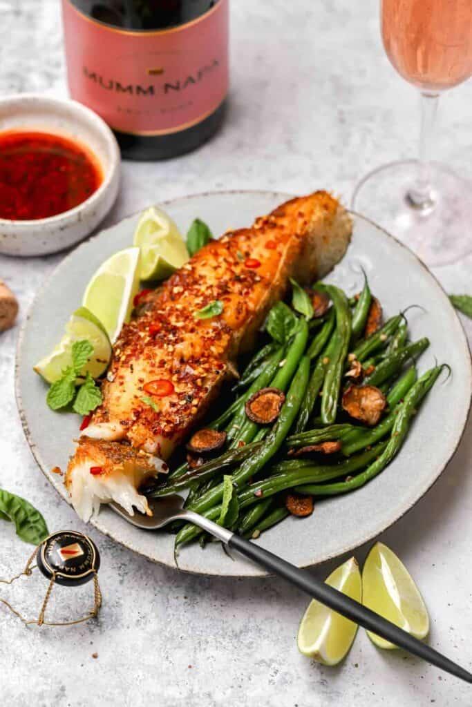 Chili garlic oil seared halibut fish