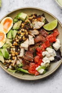 Cobb salad with Mexican corn and chicken
