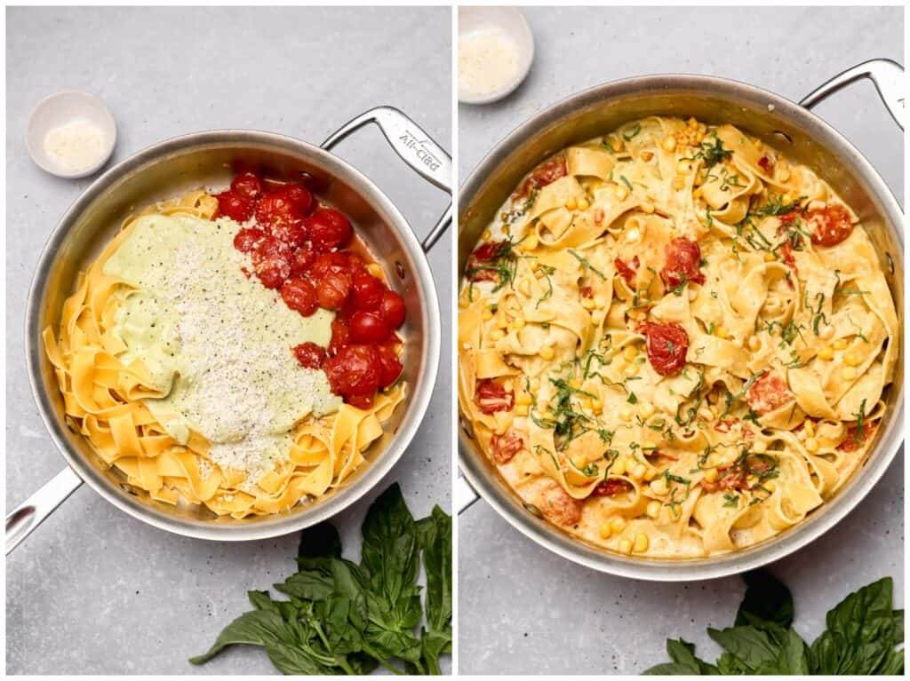 Creamy corn pasta with basil and tomatoes in a skillet