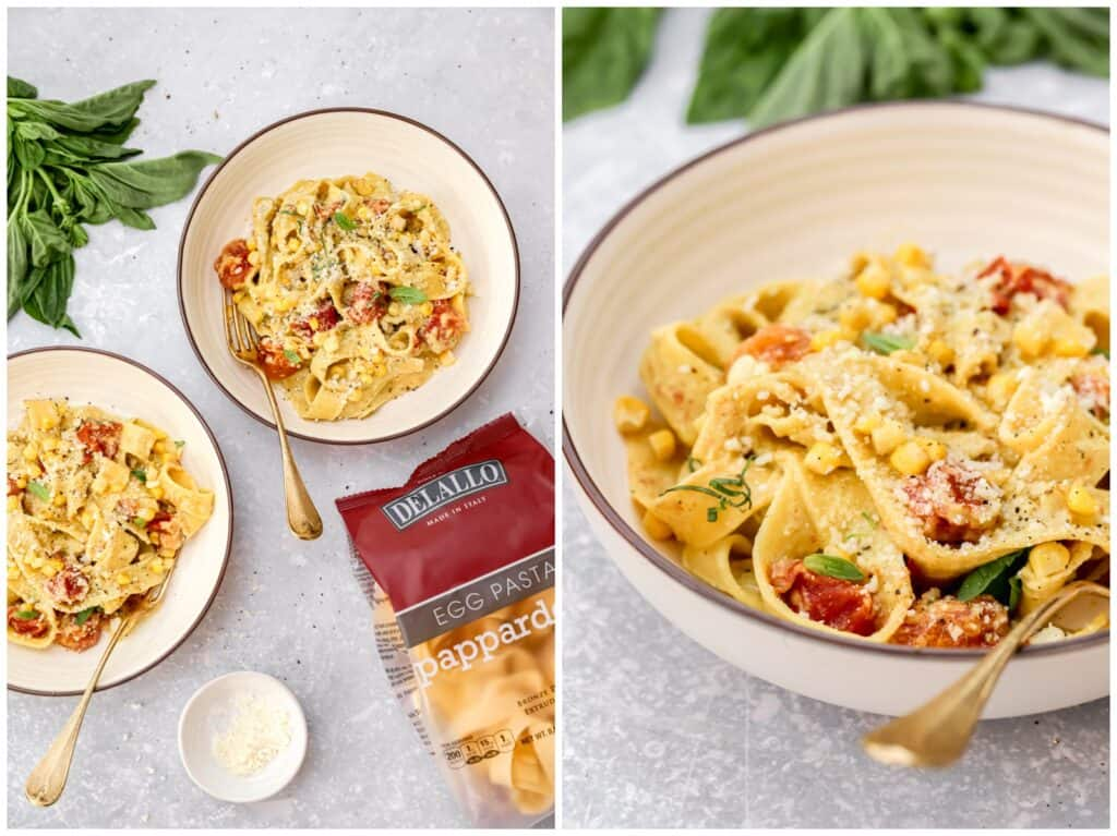 DeLallo pasta with blistered tomatoes corn and basil