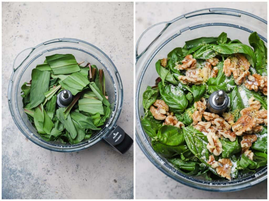 Finely chopped ramps and basil