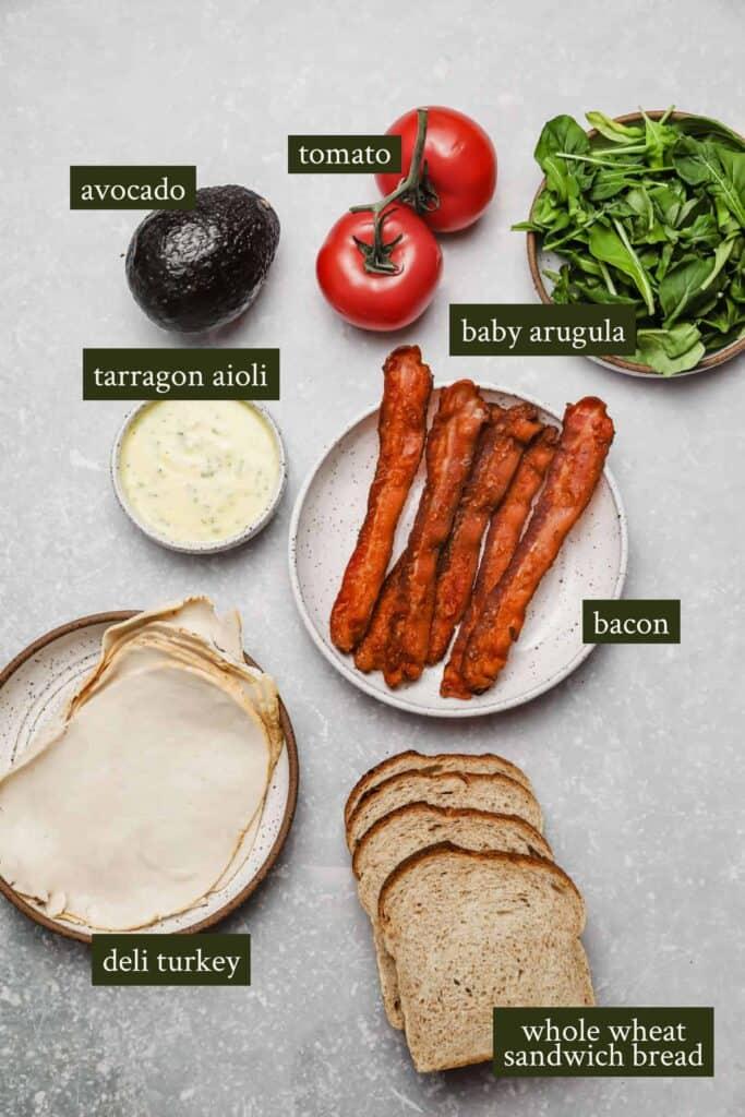 Ingredients for a California club sandwich