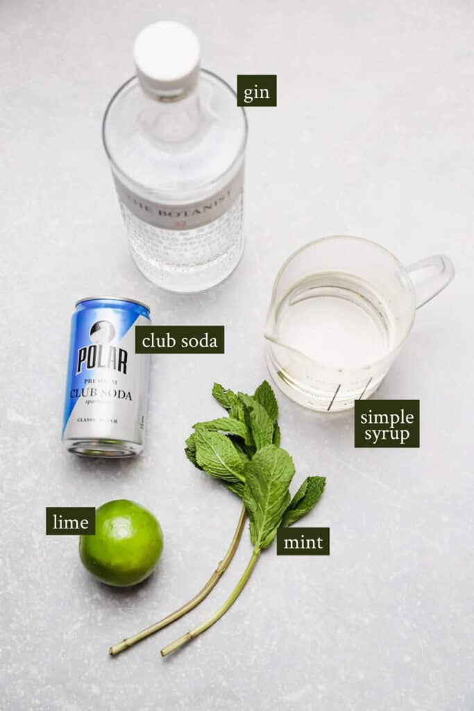 Ingredients for southside cocktail