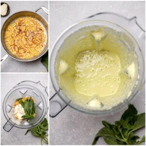 Making a corn and basil cream sauce in a blender