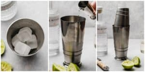 Making a gin cocktail
