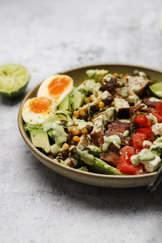 Mexican Cobb salad with grilled chicken and avocado lime ranch dressing