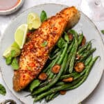 Pan seared halibut steaks with Chinese chili oil sauce