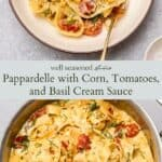Papappardelle with basil cream sauce pinterest graphic
