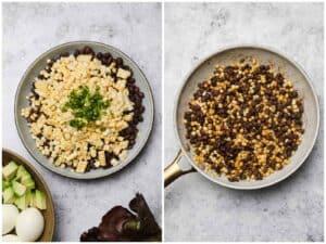 Sautéed corn black beans and jalapeno